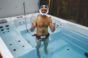 Mark Kleanthous using the POWERBREATHER and Swim Tether